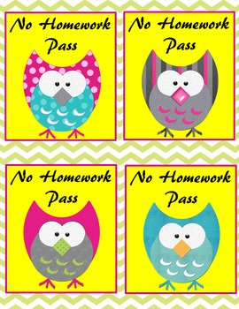 Owl No Homework Pass