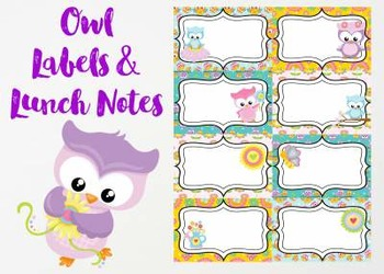 Owl Notes and Lunch Labels