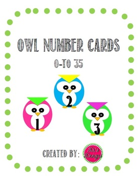 Owl Number Cards 0-35 for cubbies or calendar