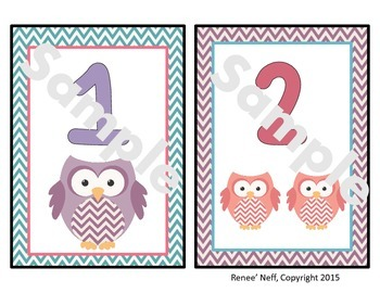 Owl and Chevron Number Mini Posters