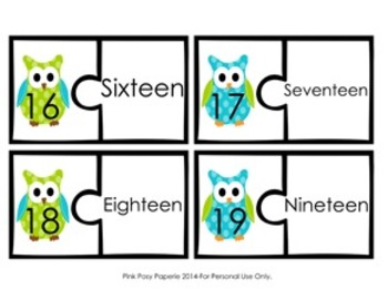 Blue and Green Owl Number Puzzles 0-20