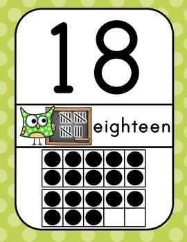 Owl Number Posters 0-30 (ten frame dots are black)