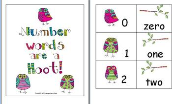 Owl Number Word Flashcards