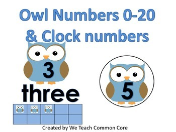 Owl Numbers 0-20 and Owl Clock Numbers