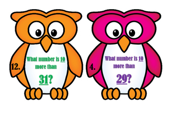 "Owl!  Owl!  Are you 10 ""more"" or 10 ""less"" than your number?  Scoot Game"