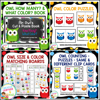 Owl Pack Cut & Paste Book Puzzles Counting Clip Cards & More