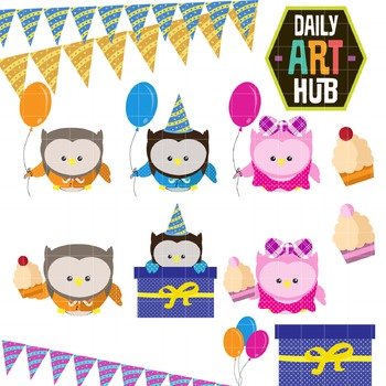Owl Party Clip Art - Great for Art Class Projects!