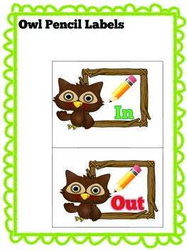 Owl Pencil Labels