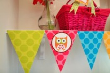 Owl Pennant Banner and  Center Signs Classroom Decor