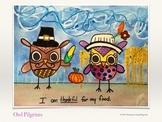 Thanksgiving Art Lesson - Owl Pilgrims (Drawing)