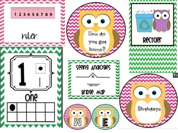 Owl Pink and Green Chevron Bundle