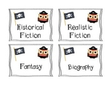 Owl Pirate Theme Book Genre Labels