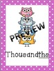 Owl Place Value Headers Classroom Posters