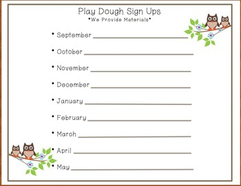 Owl Play Dough Sign - Ups