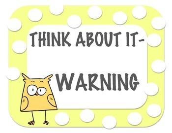 Owl Polka Dot Behavior Management Clip Up and Down Chart