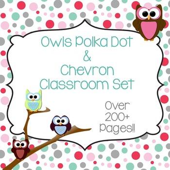 Owls Polka Dot & Chevron Classroom Set