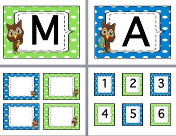 Owl & Polka Dot Class Decor-EDITABLE-Word Wall Headers-Labels-CAFE-Cubbie #'s