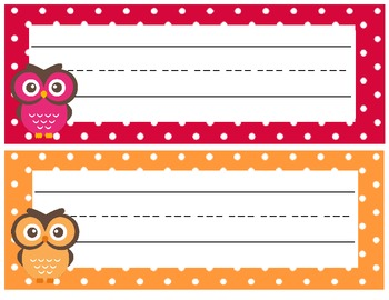 Owl Polka Dot Desk Name Plates