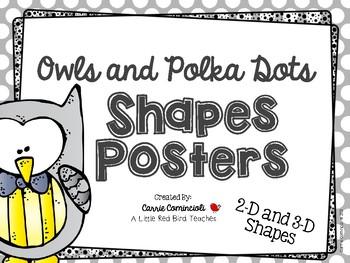 Owl Polka Dots Shapes Posters