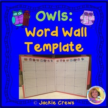 Owl Portable Word Wall Template for Student Writing by ...