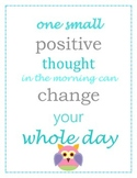 Owl Postive Thoughts Poster