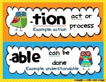 Owl Prefix/Suffix Posters