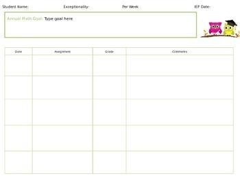 Owl Progress Monitoring / Goal Reporting