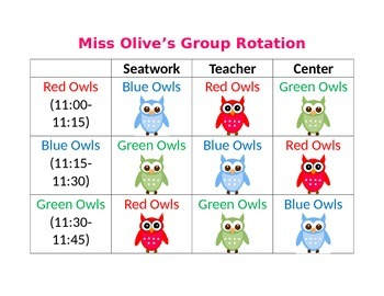 Owl Reading Center Rotations