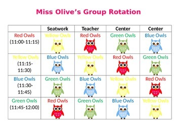 Owl Reading Center Rotations for Four Groups