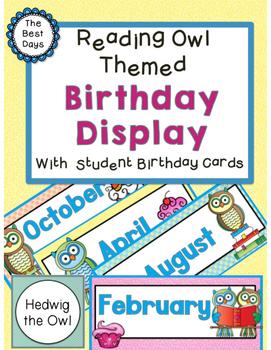 Owl (Reading Owl) Themed Classroom Decor:  Birthday Display