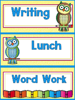 Owl (Reading Owl) Themed EDITABLE Schedule Cards