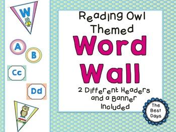 Owl (Reading Owl) Themed Classroom Decor:  Word Wall Display
