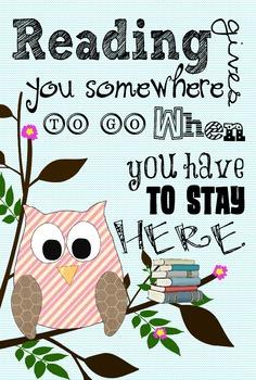 Owl Reading Poster