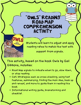 Owl Reading Road Map- based on Owls by Gail Gibbons