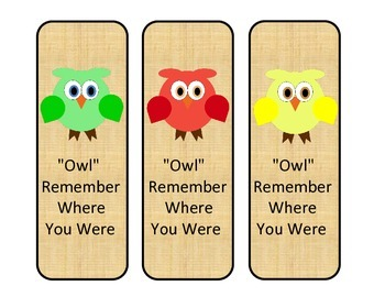 """""""Owl"""" Remember Where You Were Bookmarks"""
