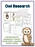 Owl  Research Project - 14 Types, Vocab Cards, Packet, Book  + More!