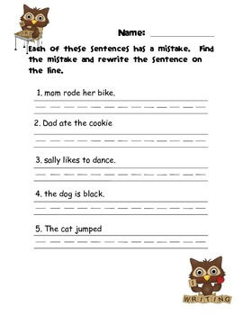 Owl-Right Sentences! A back to school simple sentence center pack