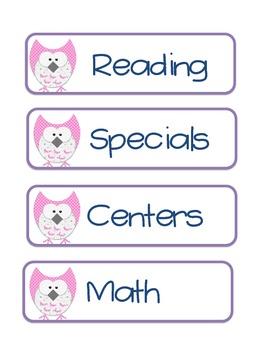 Owl Schedule Cards