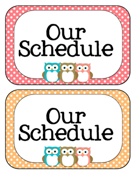 Owl Schedule Cards