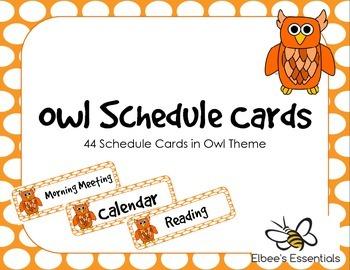 Owl Schedule Cards - Orange