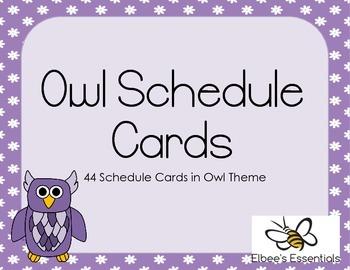 Owl Schedule Cards - Purple