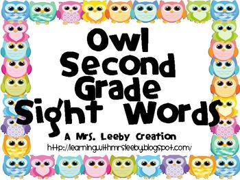 Owl Second Grade Sight Words