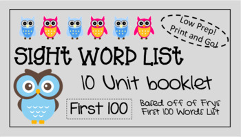 Owl Sight Word Booklet - Pre-K and Kindergarten