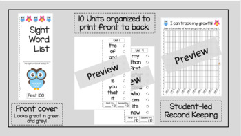 Owl Sight Word Booklet - Pre-K and Kindergarten