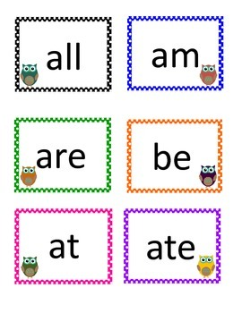 Owl Sight Words for Word Wall