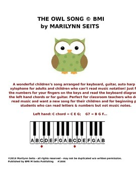 Owl Song - children's song w/ keyboard letters instead of music notation….