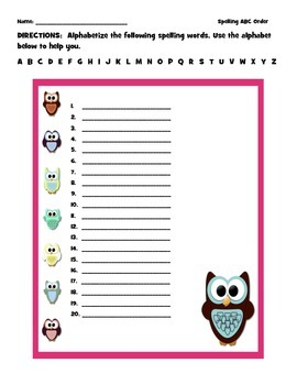 ABC Order Owl Spelling Worksheet Template