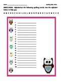 ABC Order Owl Spelling Worksheet Template