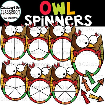 Owl Spinners Clip Art {Thanksgiving Clip Art}