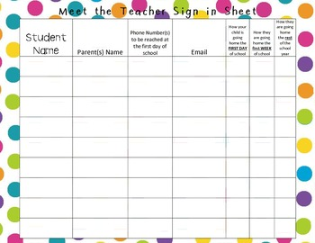 owl star dots meet teacher sign in sheet by numbers on my brain tpt